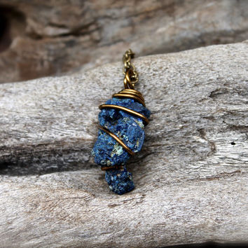 Azurite Necklace - Gypsy Bohemian Necklace - Raw Stone Jewelry - Rough Stone Necklace - Blue Azurite Jewelry - Healing Stone Wiccan Jewelry