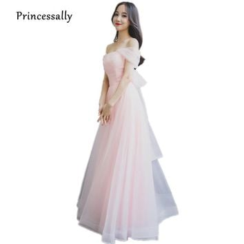Pastel Pink Bridesmaid Dreses Long Elegant Boat Neck Tulle Charming Sexy Off-the-shoulder Long Prom Party Gown Robe De Soriee