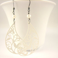 White Paisley Filigree Earrings Spring Valentine's Day