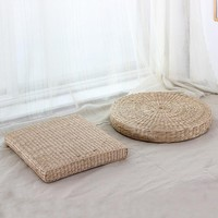 Round Hip Pillow Pouf Natural Straw Round Pouf Tatami Cushion Floor Cushions Meditation Yoga Round Mat Zafu Chair Pillow