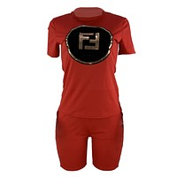 Fendi Summer New Fashion Bust Sequin Letter And Shorts String Mark Letter Print Sports Leisure Top And Shorts Two Piece Suit Red