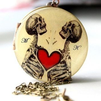 Skeleton Locket Valentines Day Necklace by MStevensonDesigns