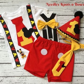 Boys Mickey Mouse First Birthday Cake Smash DELUXE Set, Boys 1st Birthday Shirt, Mickey Mouse Birthday Outfit