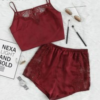 2 Piece Outfits For Women Sexy Top And Shorts Set Burgundy Lace Insert Crop Top And Shorts Pajama Set