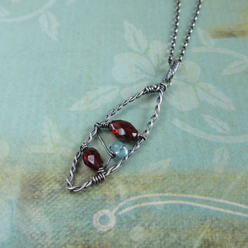 January Birthstone Necklace, Garnet And Apatite Pendant, Oxidized Sterling Silver, Plaited Wire Pendant, Gemstone Jewelry