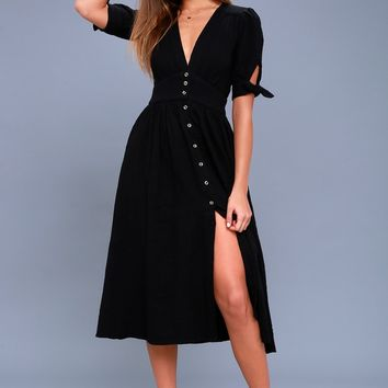 Love of My Life Black Midi Dress
