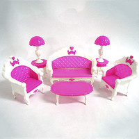 6Pcs Lovely Toys Barbie Doll Sofa Chair Couch Desk Lamp Furniture