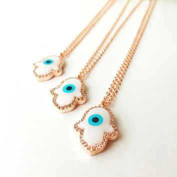 Hamsa necklace, evil eye bracelet, rose gold hamsa hand necklace, mother of pearl