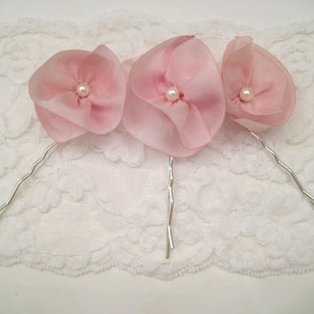 Pink flower wedding hair pins, set of 3 bridal hairpins, pink bridal accessories, silk flower hairpins, bridesmaid hair, pink color theme