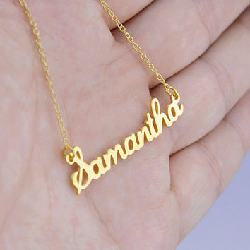 Gold Name Necklace,Personalized Jewelry,Nameplate Jewelry,Cursive Name Necklace,Custom Name Necklace,Christmas Gift,Name Pendant N029