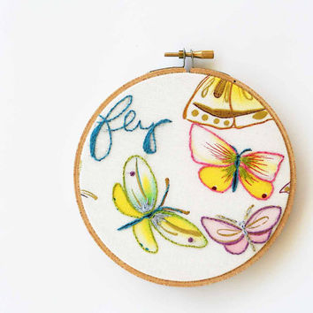 Butterfly embroidery hoop decor / nature inspired / blue hand embroidery / cursive writing / fresh summer pastel