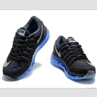 """NIKE"" Trending AirMax Toe Cap hook section knited Fashion Casual Sports Shoes Black white hook blue soles"