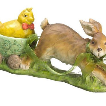 Easter Decoration - Bunny Pulling Chick In Carriage
