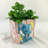 Pink & Blue Baby Elephant Baby Shower Planter Adorable Blue Baby Elephant Succulent Ceramic Planter Baby Animal Nursery Decor