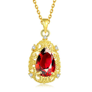 Gold Plated Classic Paris Ruby Necklace