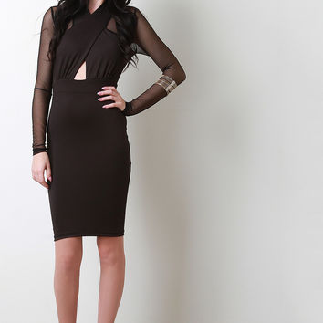 Crossover Halter Mesh Bodycon Dress