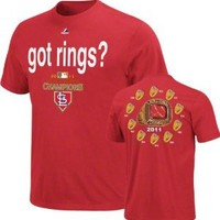 "St. Louis Cardinals Majestic 2011 World Series Champions ""Got Rings"" T-Shirt"