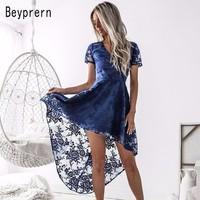 Beyprern Vintage High Low V-Neck Short Sleeve White Lace Embroidery Dress High Quality Sexy Backless Bandage Party Dress Vestido
