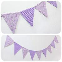 Purple Fabric Double-sided Bunting Pennant Flag Banner Wedding Photo Prop Girls Room Birthday Party Baby // Orchid Pastel Floral Stripe