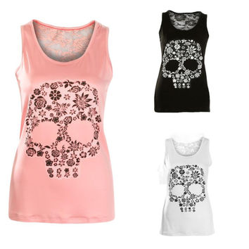 Skull Print Tank Top 2017 Summer Women Sexy Lace Hollow Back Pink White