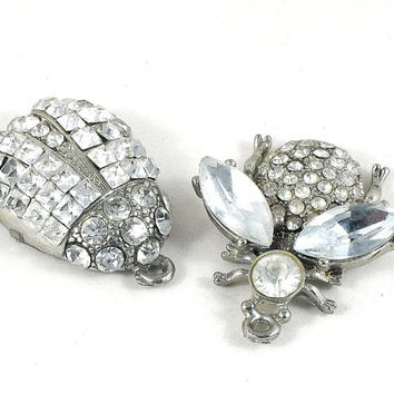 Silver Rhinestone Metal Charms - ladybird or fruitfly - jewellery making, sewing, making Crafts, Gift Wrapping and Costumes