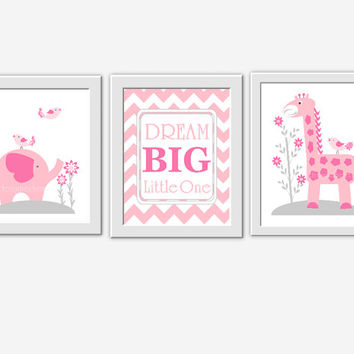 Baby girl nursery wall art pink gray elephant giraffe dream big girl room wall decor baby