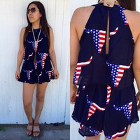 USA bull print romper from PeaceLove&Jewels