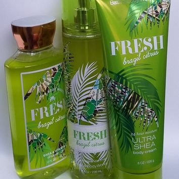 Bath & Body Works FRESH BRAZIL CITRUS Body Cream / Fragrance Mist / Shower Gel