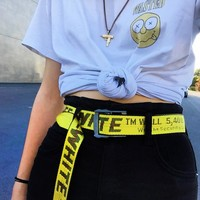 OFF WHITE New Fashion More Letter Couple Word Belt Yellow