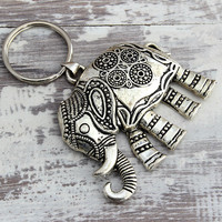 Lucky Elephant Keychain, Good Luck Keychain Elephant Keyring Buddist Zen Yoga Gifts Namaste Key ChainYoga Gift Stocking Stuffer Secret Santa