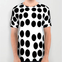 Unisex Large Polka Dots Black and White Digital Print T-Shirt Black T-Shirt White T-Shirt Men T-Shirt Women T-Shirt Pattern Design T-Shirt