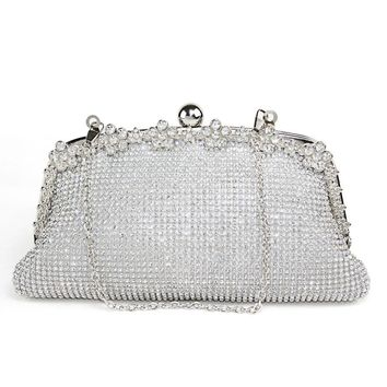 Double-sided Sparkling Shinning Crystal Wedding Evening Clutch Purse Handbag