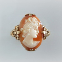 Victorian Cameo Ring -  Antique Gold Bow Ring - Hand Carved Shell Cameo - Vintage Cameo Ring - Antique Cameo Ring - Size 8 3/4