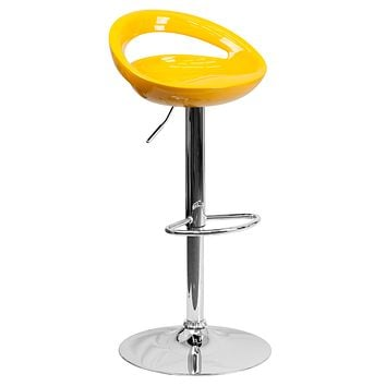 Contemporary Plastic Adjustable Height Barstool with Chrome Base