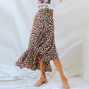 Printed Leopard Ankle-Length Skirt