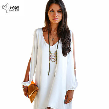 Summer Dress 017 casual Plus Size Women Clothing Long sleeve solid color Chiffon V Dress Vestidos Beach Dress Loose neck dress