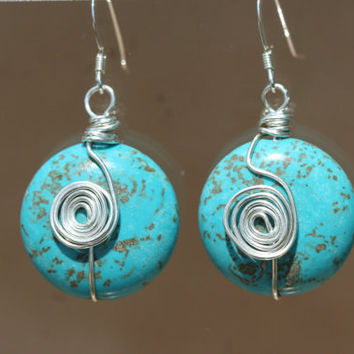 Sterling Silver and Magnesite Earrings with Coil by LesleyPridgen