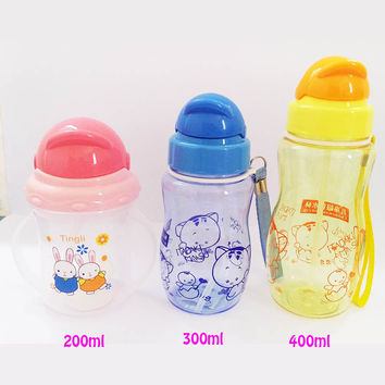 Baby Water Straw Bottles Training Cups For Children Learn Drinking With Handle Strap Sippy No-spill Kids Sippy Cups BPA free