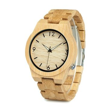 Bamboo Wooden Watch for Men and Women Unique Design Top Brand Luxury Quartz Wood Band Wrist Watches