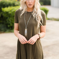 The Dove Short Sleeve Tunic In Olive