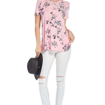 Pink & Gray Floral Tunic Boutique Top!