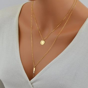 Gold Layered Necklace, Layering Necklace Set, Set of Two Necklaces Gold, Rose Gold or Silver, Circle Necklace, Name Necklace, Spike Necklace