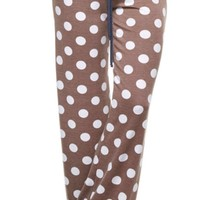 Casual Polka Dot Pants - Mocha