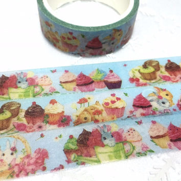 cupcake Rabbit washi tape 5M x 1.5cm bunny party cake party masking tape farm rabbit flower rabbit sticker tape rabbit planner sticker gift