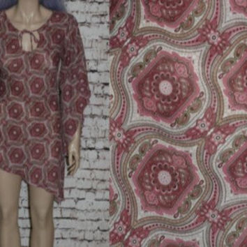 90s Sheer Mini Dress Chiffon Bell Sleeves Grunge Hipster Boho Witchy Festival Hippie Gypsy M Tunic Top Blouse Shirt Floral Asymmetrical 70s