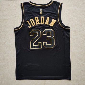 58b0a11b2e9 Chicago Bulls  23 Michael Jordan Black Gold Men Basketball Jerse