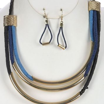Three Layer Wrapped Cord Bib Hollow Curved Braided Faux Leather Str  Necklace Earring Set