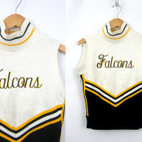 vintage Varsity cheerleading sweater Black & Yellow Vest High School Lettermen Falcons emblem Highschool uniform Letterman 36