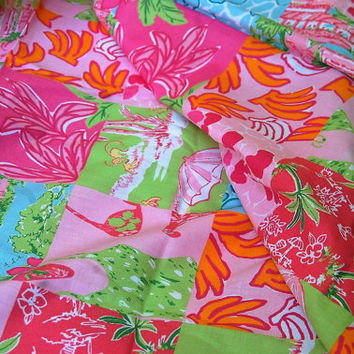 Lilly Pulitzer Tropical Palm Beach Patchwork Cotton Print 3 yds x 44""