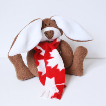 I Am Canadian Bunny stuffed rabbit hare maple leaf scarf red and white handmade waldorf Canadian heritage ofg canteam July 1 flag day